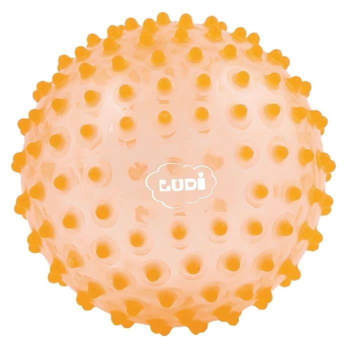LUDI - Balle sensorielle orange pour l'éveil de bébé. Adaptée aux enfants dès 6 mois. Gros picots tendre faciles à mordiller