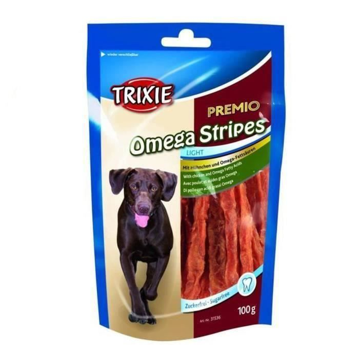 TRIXIE Lot de 3 PREMIO Omega Stripes poulet pour chien 100g