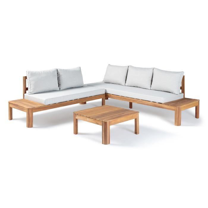 Salon de jardin - En bois d'acacia FSC - 5 personnes - Avec coussins - SANA