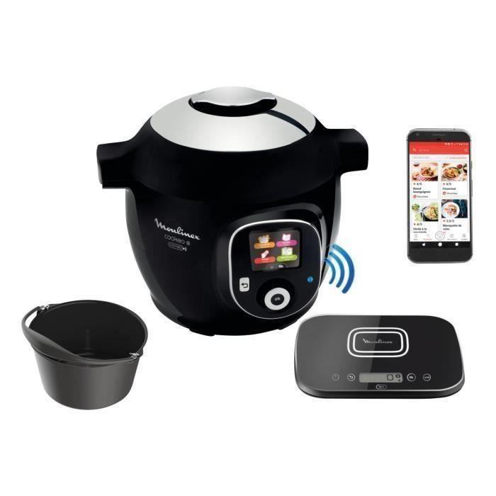 MOULINEX CE859800 Multicuiseur intelligent COOKEO + Connect avec Balance et Moule de cuisson inclus - 6L - 200 recettes - 1600W Noir