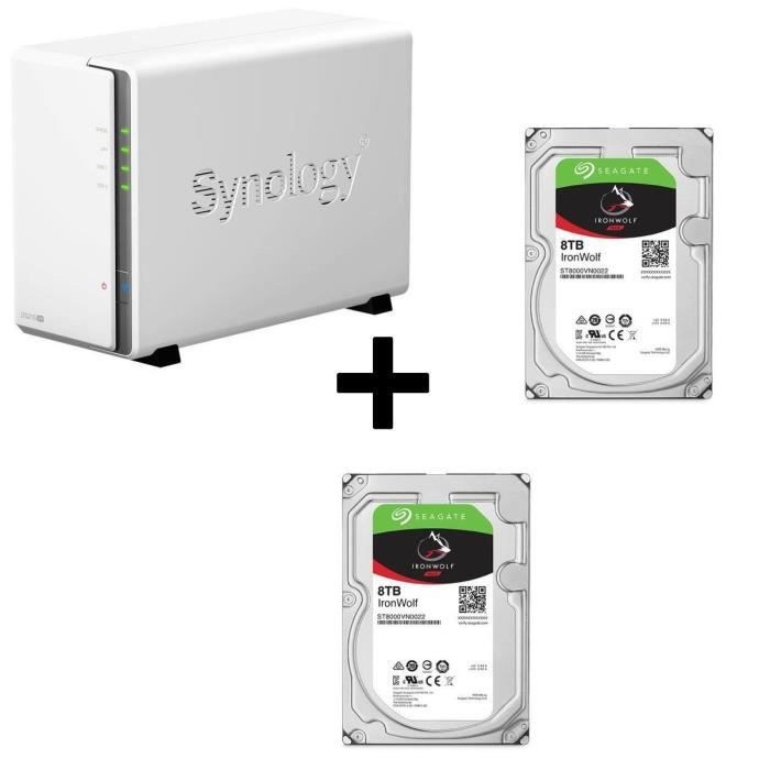 Pack Synology Serveur NAS Diskstation DS216se DS216se + Disque Dur Seagate NAS HDD Iron Wolf 4To 3,5\
