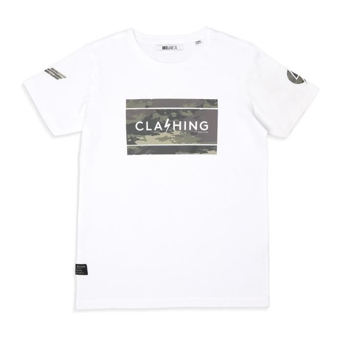 DEELUXE - CLASHING T-Shirt Blanc Manches Courtes \