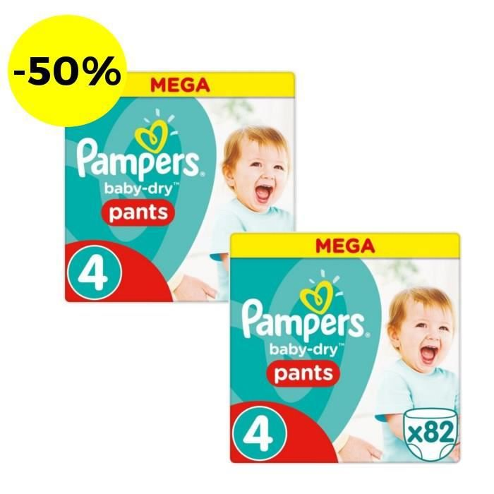 PAMPERS Baby Dry Pants Taille 4 - 164 couches - Lot de 2 paquets MEGA