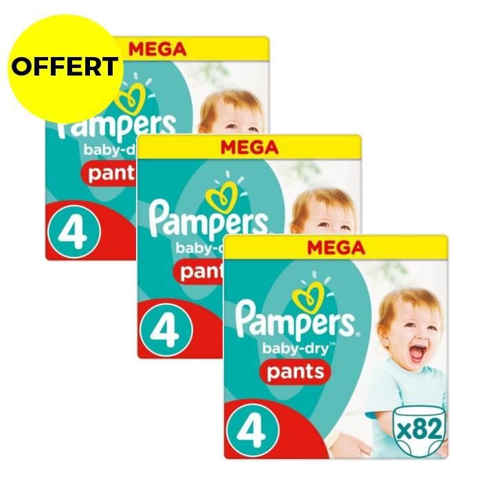 PAMPERS Baby Dry Pants Taille 4 - 246 couches - Format Mega x3