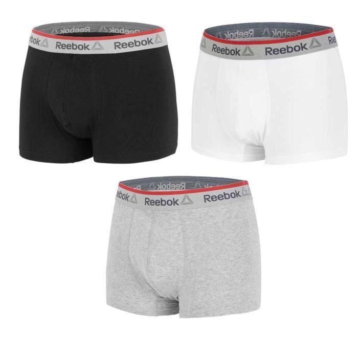 REEBOK Lot de 3 boxers noir/gris/blanc - Homme