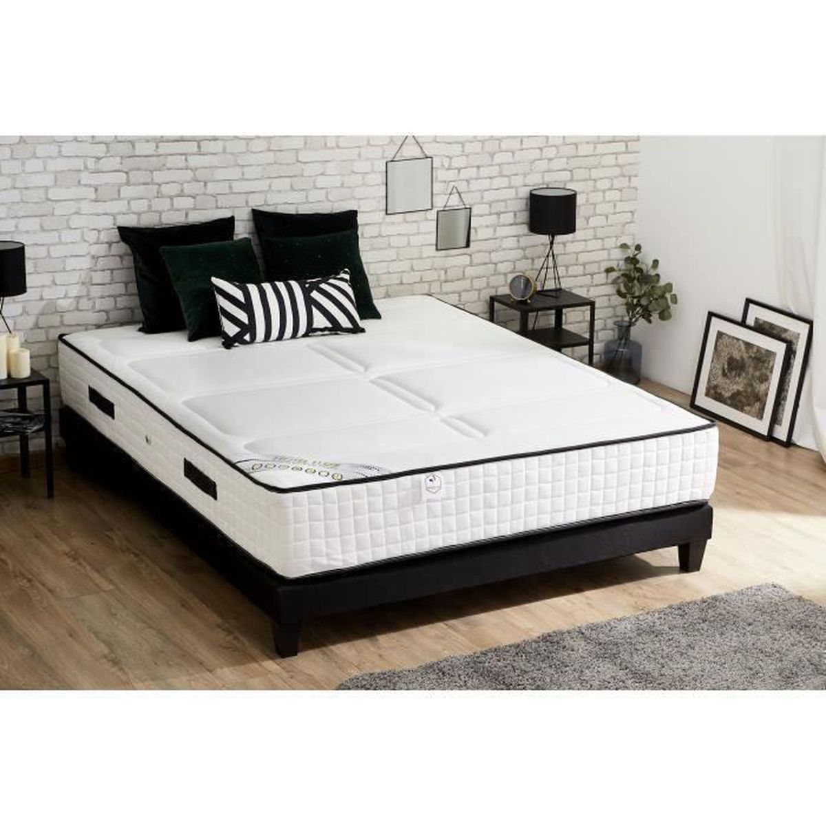 hotel luxe ensemble matelas sommier 160x200 cm 792. Black Bedroom Furniture Sets. Home Design Ideas