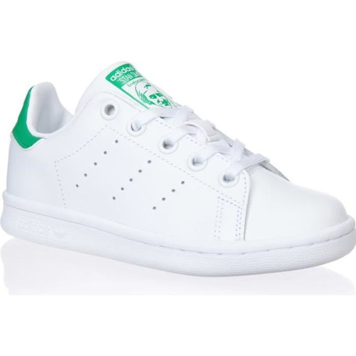 d5fda56303d ... Blanc et vert. BASKET ADIDAS ORIGINALS Baskets Stan Smith - Junior - Bla