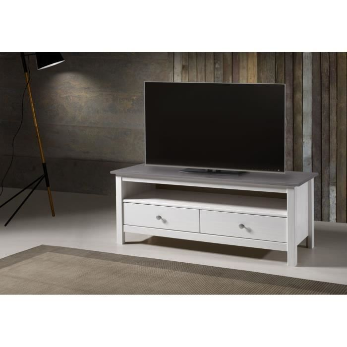 Dina meuble tv 110 cm en pin teint blanc gris achat for Meuble tv 110 cm fly