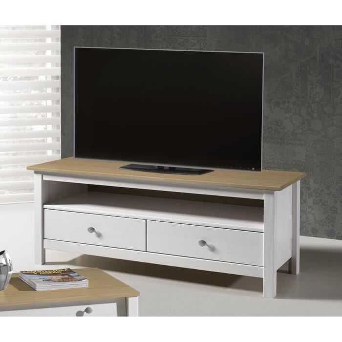 Dina meuble tv 110 cm en pin teint blanc ch ne achat for Meuble tv 110 cm fly
