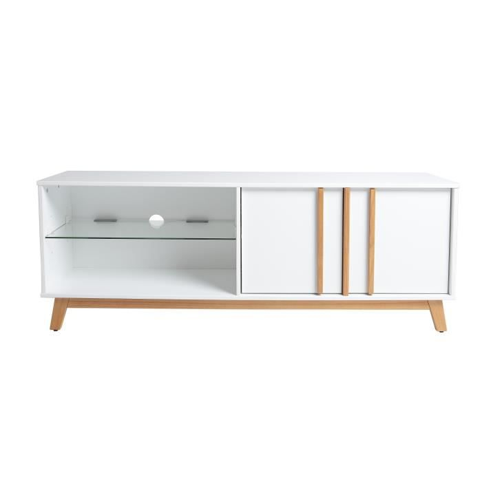 amaya meuble tv scandinave en mdf blanc et d cor ch ne 140 cm achat vente meuble tv amaya. Black Bedroom Furniture Sets. Home Design Ideas