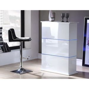 Flash table bar 80x34x110 cm laqu blanc brillant avec led bleu achat v - Table mange debout blanc laque ...