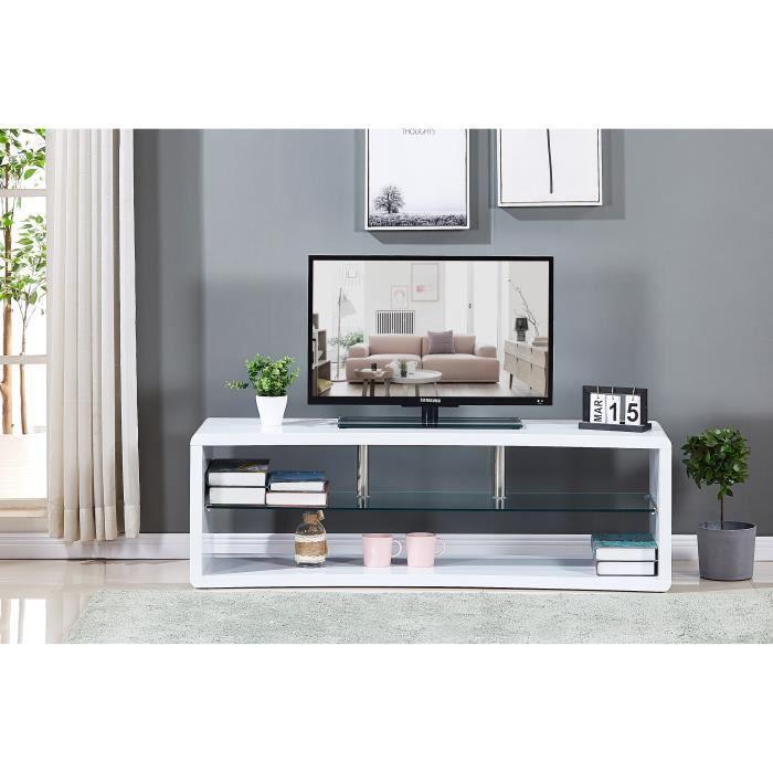 MEUBLE TV Meuble TV incurvé en bois laqué blanc - Etagére en