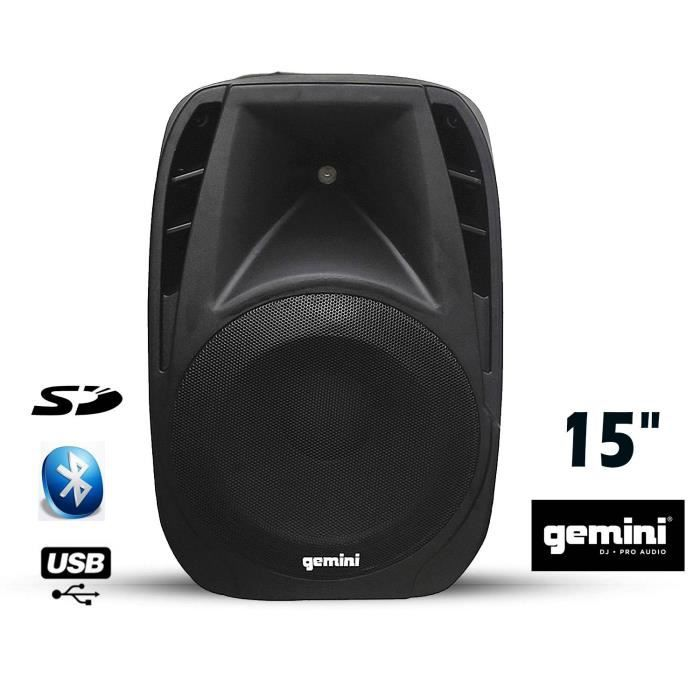 gemin es 15blu enceinte active 200w rms bluetooth enceintes bluetooth avis et prix pas cher. Black Bedroom Furniture Sets. Home Design Ideas