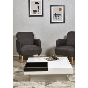 TABLE BASSE IRIGA Table basse carrée style contemporain blanc