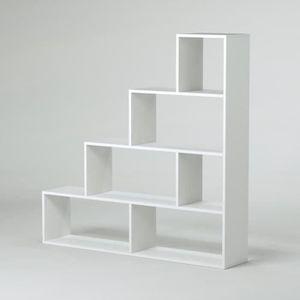 MEUBLE ÉTAGÈRE KLUM Meuble escalier contemporain mélaminé blanc b
