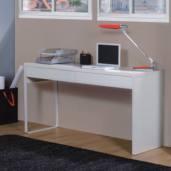 Touch bureau informatique contemporain blanc brillant l for Meuble bureau contemporain