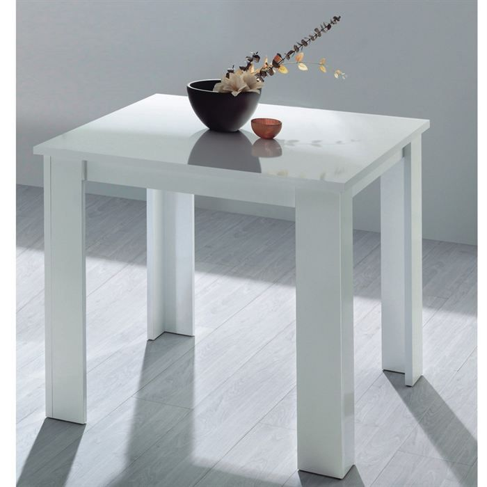 Living table cuisine blanche 90x90cm achat vente table for Table a manger blanche