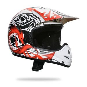 CASQUE MOTO SCOOTER AMX Casque Cross DRAGON 505 Déco Blanc