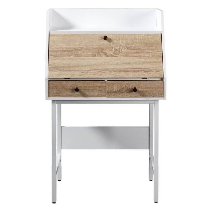 London secr taire scandinave m lamin d cor ch ne clair for Meuble bureau secretaire informatique