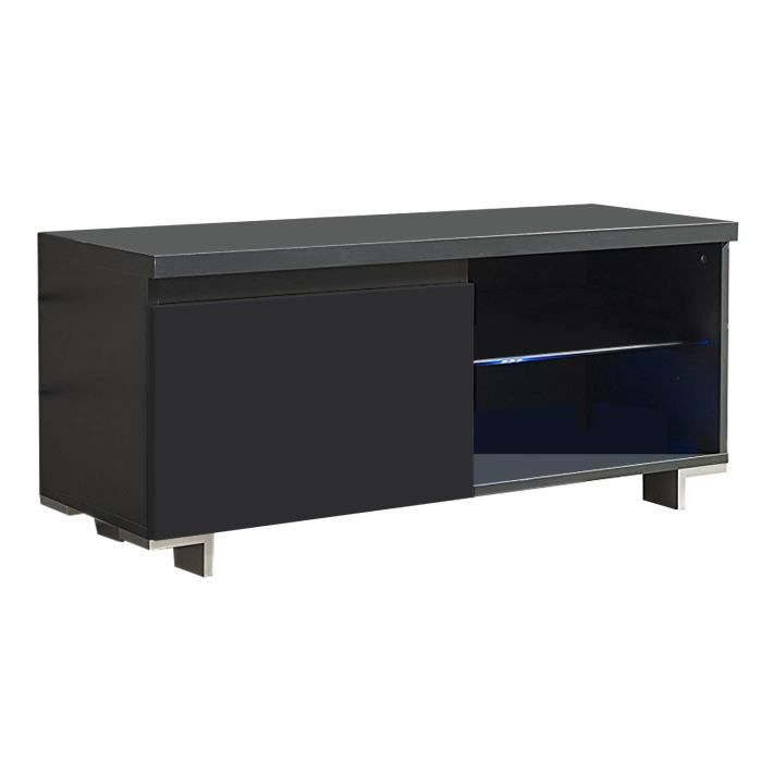 yasmina meuble tv led industriel 100 cm gris anthracite et d cor ch ne achat vente meuble. Black Bedroom Furniture Sets. Home Design Ideas