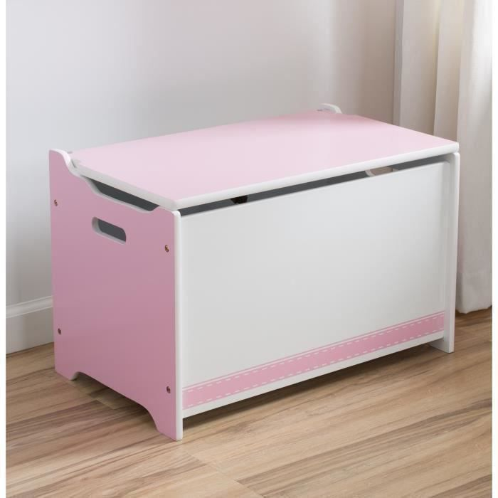 coffre jouets en bois rose et blanc achat vente. Black Bedroom Furniture Sets. Home Design Ideas