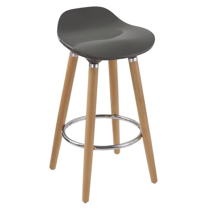 oslo tabouret de bar gris pieds bois massif scandinave l 51 x p 51 cm achat vente. Black Bedroom Furniture Sets. Home Design Ideas