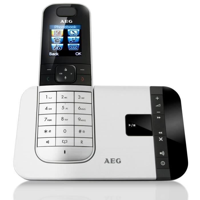aeg voxtel d575 silver t l phone fixe avec r pondeur argent achat t l phone fixe pas cher. Black Bedroom Furniture Sets. Home Design Ideas