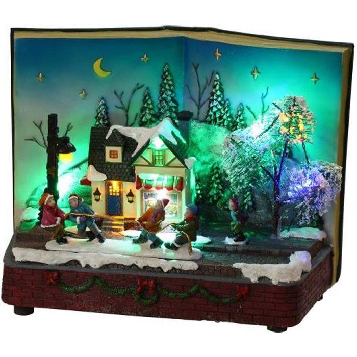 Maison Livre Animee Et Musicale De Noel 11 Led Multicolore 18 5 X 26 X 15 5 Cm