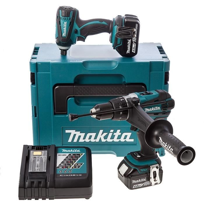 makita perceuse percussion et visseuse chocs 2x18v 4ah. Black Bedroom Furniture Sets. Home Design Ideas