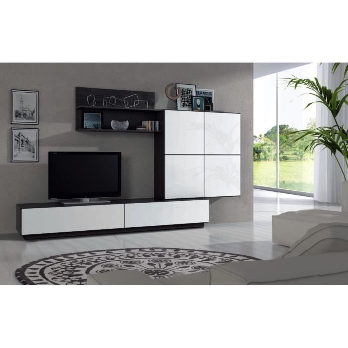 lue meuble tv mural contemporain m lamin blanc brillant et noir malla l 250 cm achat. Black Bedroom Furniture Sets. Home Design Ideas