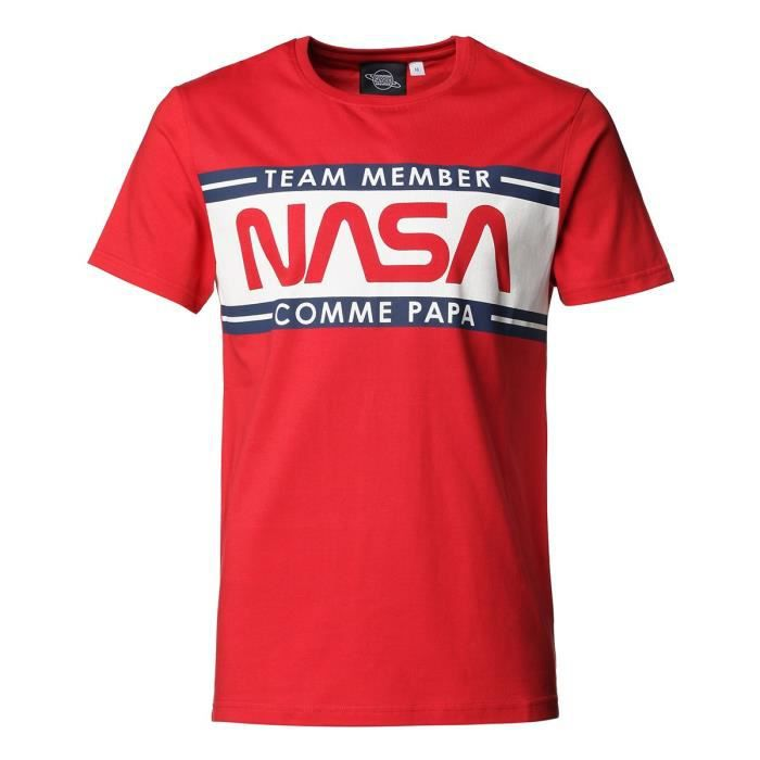 NASA Tee Shirt Papa Manches Courtes Rouge