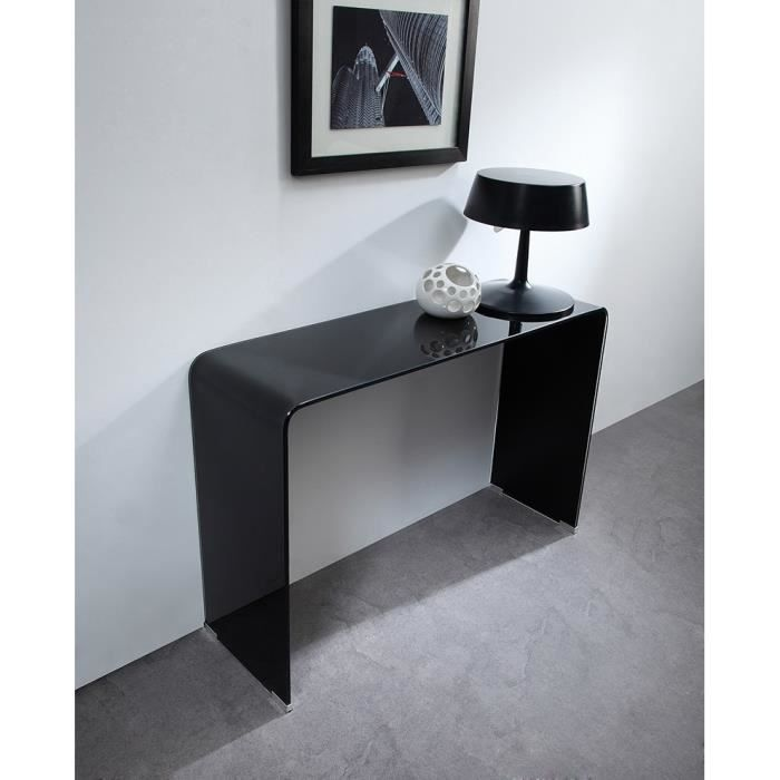 glass console en verre tremp noir achat vente console. Black Bedroom Furniture Sets. Home Design Ideas