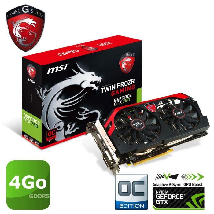 CARTE GRAPHIQUE INTERNE MSI GTX760 4Go GDDR5 OC Gaming TF4