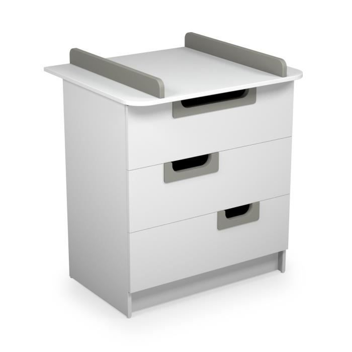 Ateliers t4 commode langer laqu gris blanc et gris - Commode table a langer ...