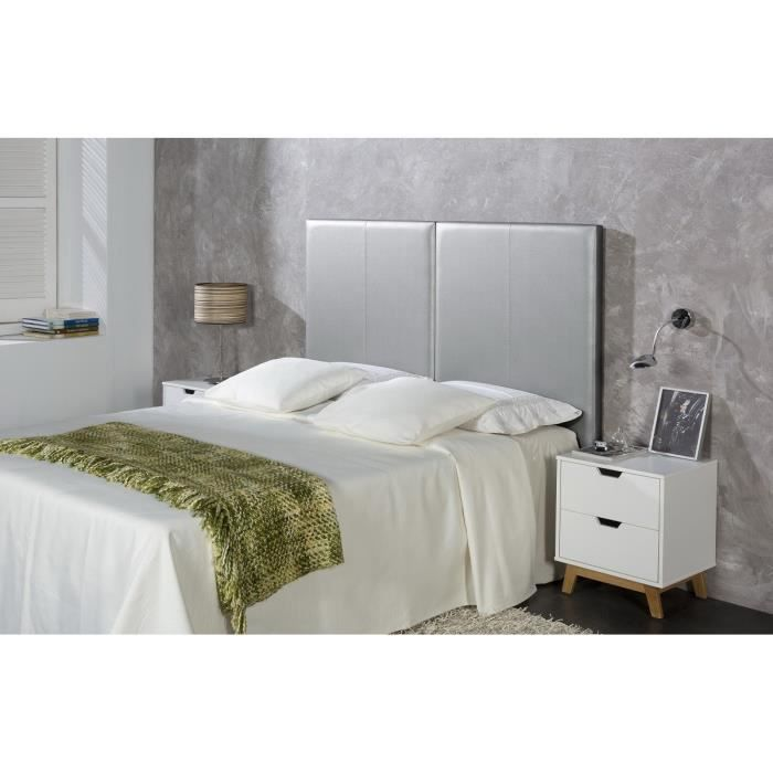 split t te de lit 160 cm en simili argent achat vente t te de lit split t te de lit. Black Bedroom Furniture Sets. Home Design Ideas