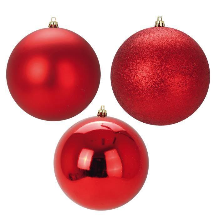 Boule Noel Photo Lot de 3 Boules de Noël en Plastique Rouge 12 cm   Achat / Vente