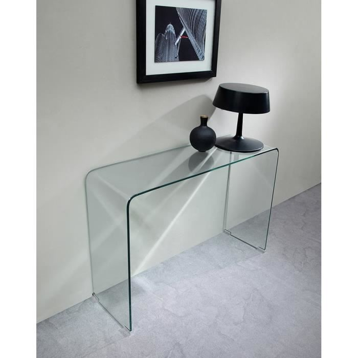 glass console en verre tremp achat vente console glass console en verre tremp verre tremp. Black Bedroom Furniture Sets. Home Design Ideas