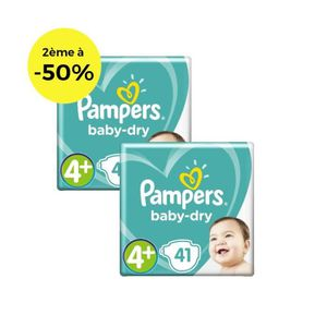COUCHE PAMPERS Baby Dry T4+ 9 à 18kg - Lot de 2 - 82 couc
