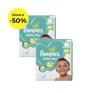 COUCHE PAMPERS Baby Dry T5+ 13 à 25kg - Lot de 2 - 70 cou