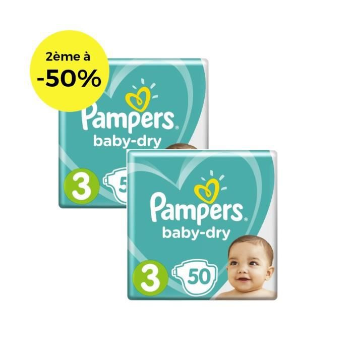 COUCHE PAMPERS Baby Dry T3 5 à 9kg, 50x2, Lot de 2 - 100