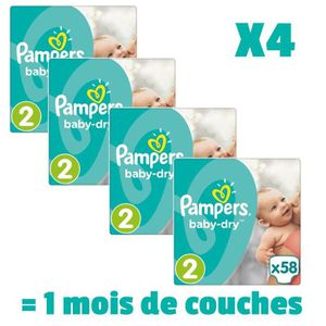 COUCHE PAMPERS BABY DRY Taille 2 - 232 couches - Pack 1 m