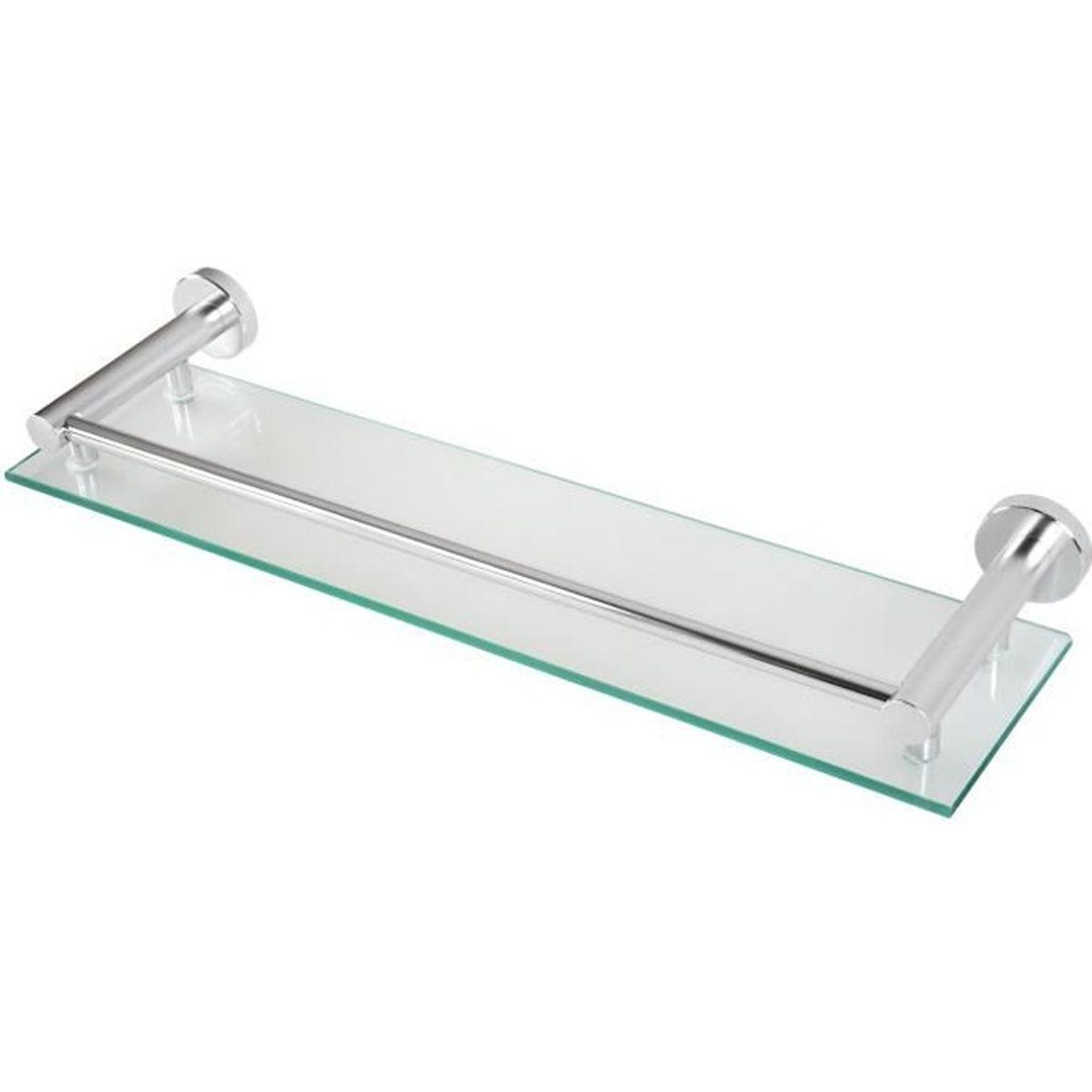 Noir mat Sayayo /étag/ère en verre /étag/ère de salle de bain avec rail de fixation murale en acier inoxydable de 50,8/cm Egc1000-b