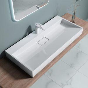 Lavabo vasque blanc 100cm /à encastrer Sogood Colossum01 fonte min/érale solid surface 100x48x13cm