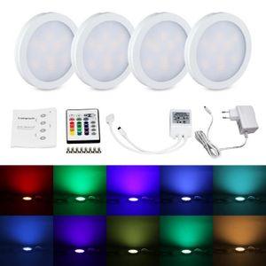 ECLAIRAGE DE MEUBLE Lampwin RGB LED Kit d'éclairage Sous Armoire 4 PCS