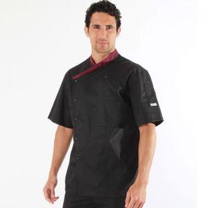 Coupe Moderne Manelli Veste de Cuisine Noire Col Italien