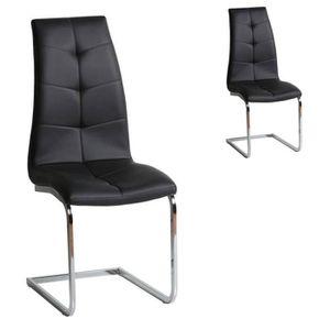 CHAISE Duo de chaises Simili cuir Noir - SPARTACUS - L 42