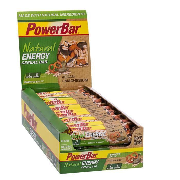 POWERBAR Lot de 24 barres de céréales Natural Energy Cereal - Sucré et salé - 40 g