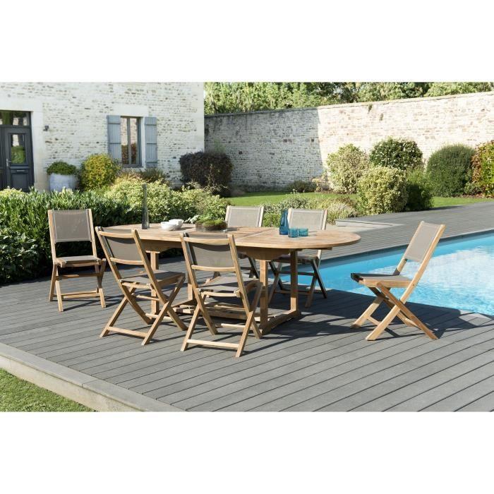Ensemble de jardin en teck : 1 table ovale extensible 180 / 240 x 100 cm - 3 lots de 2 chaises pliantes en textilène, taupe JARDITE