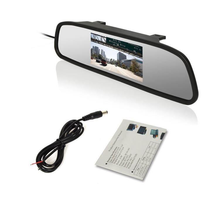 4,3 pouces Autoradio Car Mirror moniteur avec écran HD Digital TFT-LCD pour lecteur DVD - VCD & Caméra de recul entrée Rétroviseur