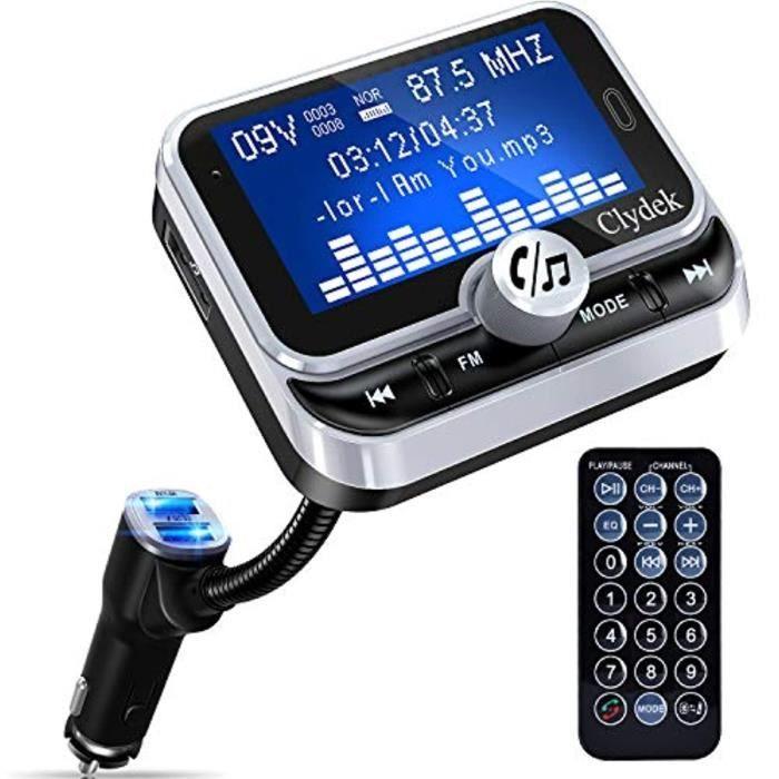 Transmetteur FM Bluetooth pour Voiture, Clydek Adaptateur de Chargeur de Voiture 1,8 - Grand écran avec Télécommande, Chargeur Rapid